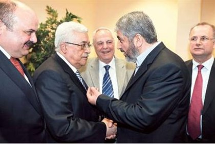 Mahmoud Abbas and Khaled Mashaal (archive)