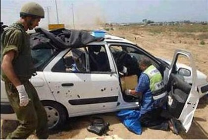 Car in which Gaza terrorists killed Tali Hatuel and four daughters