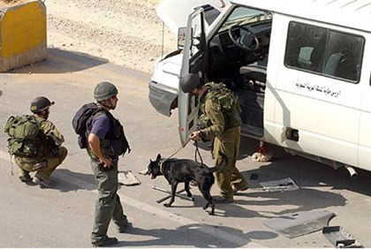 Bomb sniffing dog searches van at checkpoint