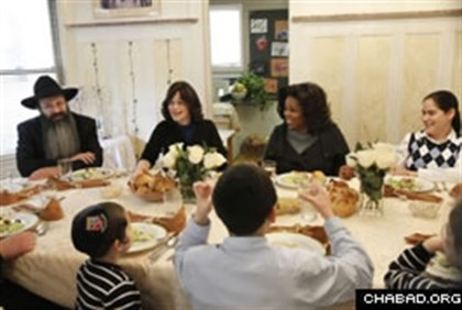 Oprah Winfrey with a Chabad Family