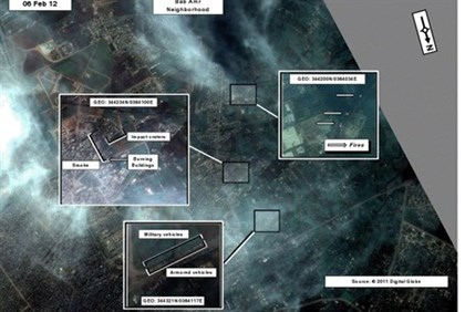 Satellite image of the Syrian gov't attack on residential areas of Homs