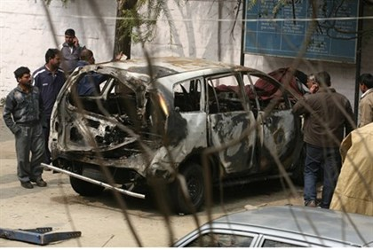 Tal Yehoshua-Koren's car after New Delhi terror attack