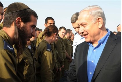 Netanyahu with soldier at Iron Dome