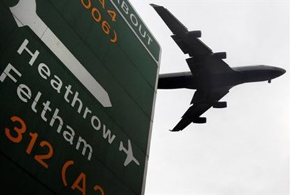 An aircraft comes into land at Heathrow Airport in London