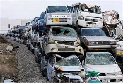 vehicles destroyed by the March 2011 earthquake and tsunami in Japan