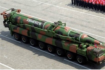 A North Korean rocket in a military parade