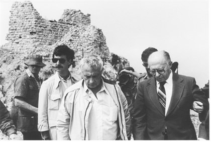 Menachem Begin and Ariel Sharon visit the Beaufort castle in Lebanon
