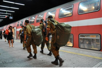 Soldiers at train station