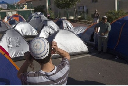Supporters' tents at Givat HaUlpana