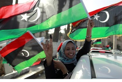 Libyan woman celebrates election in Tripoli