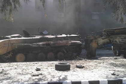 Damaged tank in Damascus