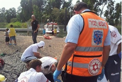 Scene on Kinneret drowning