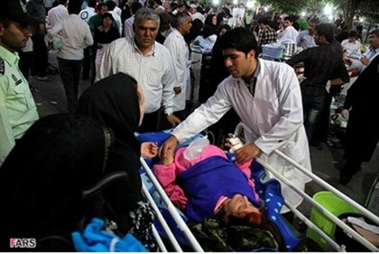 An injured person is taken to hospital in Ahar .