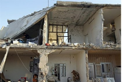 Houses that were in air strike in Azaz
