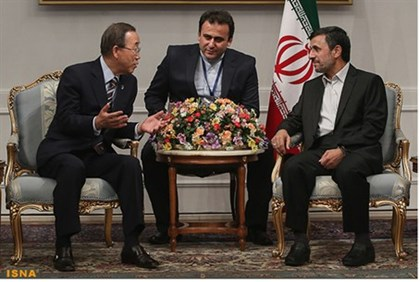 Ban Ki-moon meets with Mahmoud Ahmadinejad in Tehran