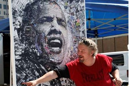 A local artist shows off his lithograph  of Obama for sale at the site of the Democratic Convention