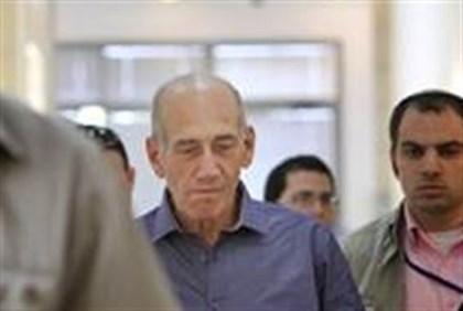 Olmert entering courtroom