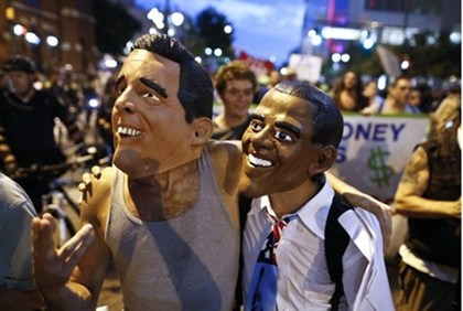 """Romney and Obama"" outside DNC convention"