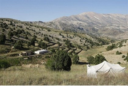 A campsite in Lebanon's Bekaa Valley