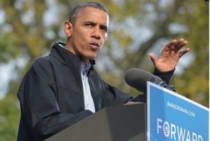 U.S. President Barack Obama at a campaign rally in Wisconsin