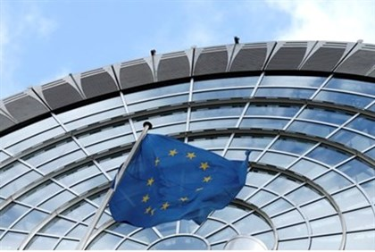 European Union flag flutters outside of the European Parliament in Brussels