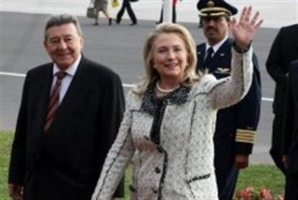 Clinton and her Peruvian counterpart, Rafael Roncagliolo in Lima