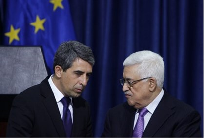 PA Chairman Mahmoud Abbas and Bulgaria's President Rosen Plevneliev