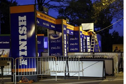 Workers adjust finish line after cancelation of 2012 NYC Marathon
