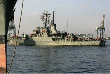 Iranian Navy destroyer Shahid Naqdi is pictured at Port Sudan