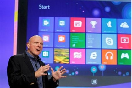 Microsoft CEO Steve Ballmer speaks at the launch event of Windows 8 operating system