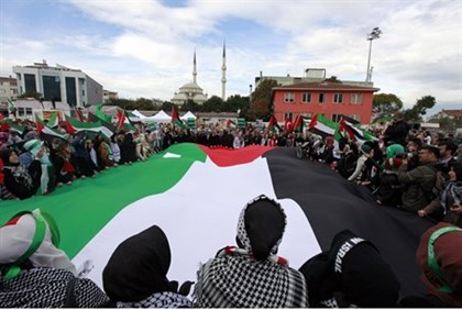 Protesters shout anti-Israel slogans