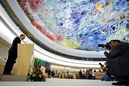UN Secretary General Ban Ki-moon speaks during a session of the UNHRC