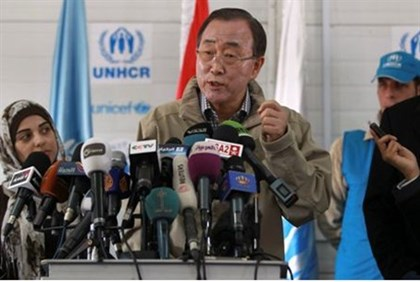 Ban Ki-moon speaks to the media during his visit to Al Zaatri refugee camp, in the Jordanian city o