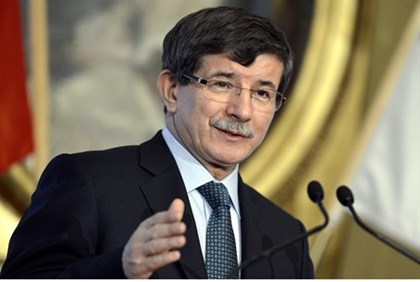 Turkish Foreign Minister Ahmet Davutoglu speaks during a news conference in Helsinki