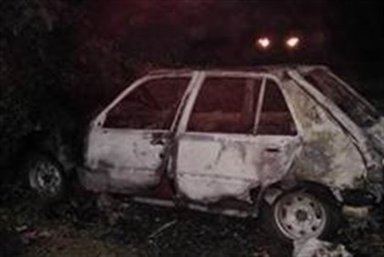 The burnt car