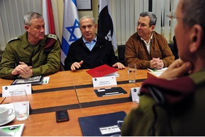 Gantz, Netanyahu and Barak at security briefing