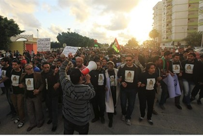 Protesters march on the streets of Benghazi