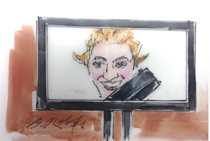 Court drawing of a picture taken by Colorado gunman