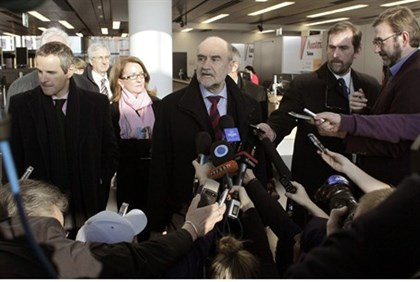 IAEA's Herman Nackaerts speaks to reporters