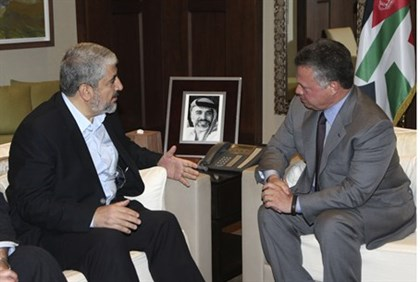 Jordan's King Abdullah meets Hamas leader Khaled Mashaal at the Royal Palace in Amman