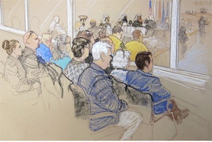 Illustration of pretrial hearings for alleged conspirators in the 9/11 attacks