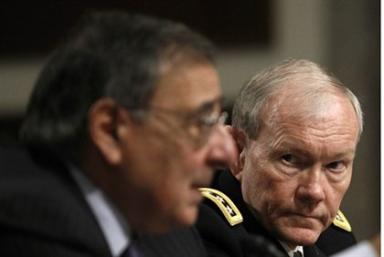 Panetta and Dempsey during testimony before Senate Armed Services Committee