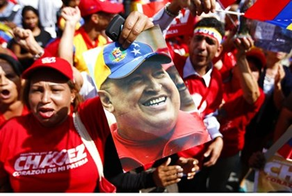 Supporters in Caracas celebrate Chavez's return