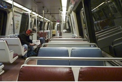 Washington Metro nearly deserted following storm warnings