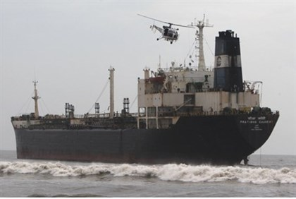 oil tanker ship sails off the coast in Chennai, India,