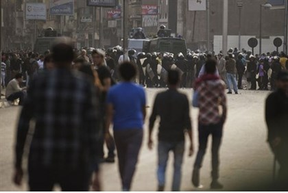 Sectarian clashes outside the Egyptian Coptic Cathedral in Cairo's Abbassiya neighborhood