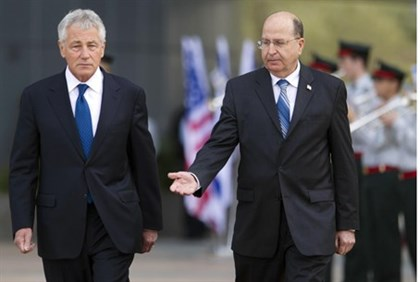 Defense Ministers Moshe Yaalon and Chuck Hagel