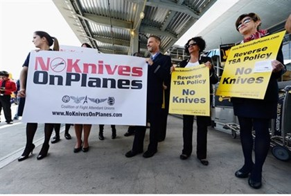protests against carrying pocket knives on planes