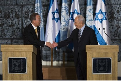 UN Secretary-General Ban Ki-and President Shimon Peres