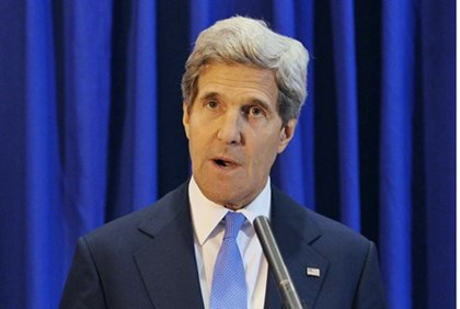 U.S. Secretary of State John Kerry at a news conference in Amman